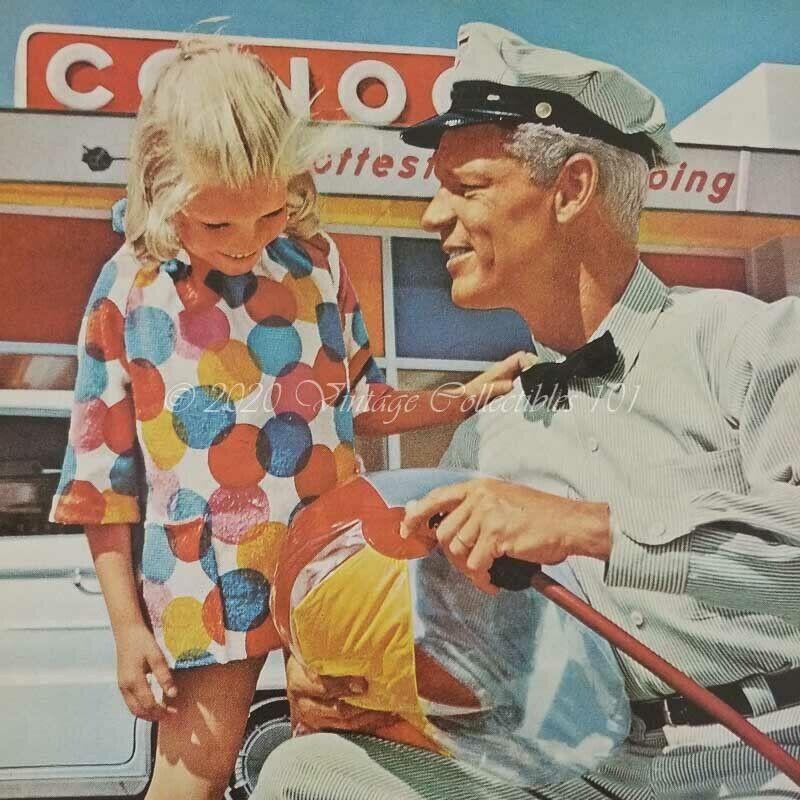 1962 Conoco Oil Gas Attendant Little Girl Beach Ball photo art decor print ad