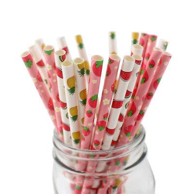 - 25PCS Paper Drinking Straws Fruit Flamingos Biodegradable Straws Party Supplies