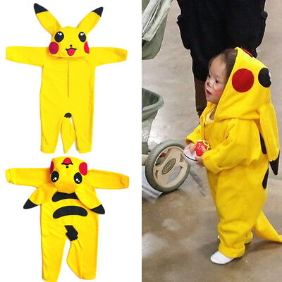Cute Toddler Infant Baby Boy Girl Pikachu Outfit Jumpsuit Rompers Playsuit
