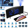 Digital Alarm Clock Projection FM Radio Dimmer LED Dual Alarms USB Charging Port