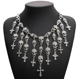 Silver Rhinestone Diamante Candy Sugar Skull & Cross Bib Collar Necklace