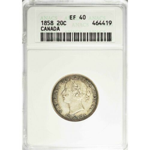 1858 Canada TWENTY CENTS - ANACS EF40 - One Year Issue Coin! - c216utxst1