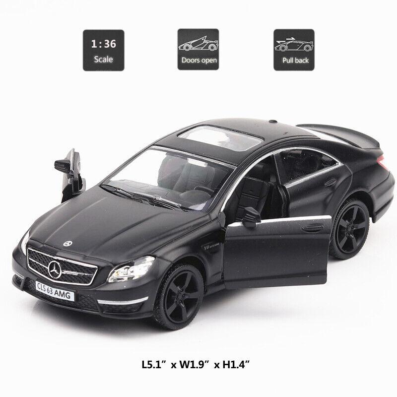 Mercedes Benz CLS 63 AMG 1:36 Die Cast Modellauto Spielzeug Schwarz Pull Back