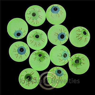 Glow In The Dark Bouncy Balls (Dozen 32MM Glow In The Dark Eye Bouncy Balls Favor Party Gift Bag Fillers)