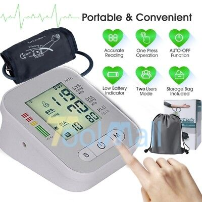 Automatic Arm - Fully Automatic Upper Arm Blood Pressure Monitor BP Cuff Gauge Machine Meter USA