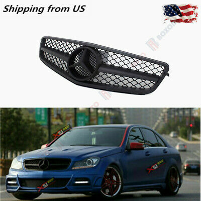 AMG Style Grille Matte Black For Mercedes Benz W204 08-14 C-Class C180 C300 C350