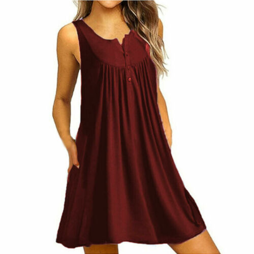 Women Sundress Solid Pleated Loose Tank Party Casual Sleeveless Crew Neck Dress Clothing, Shoes & Accessories