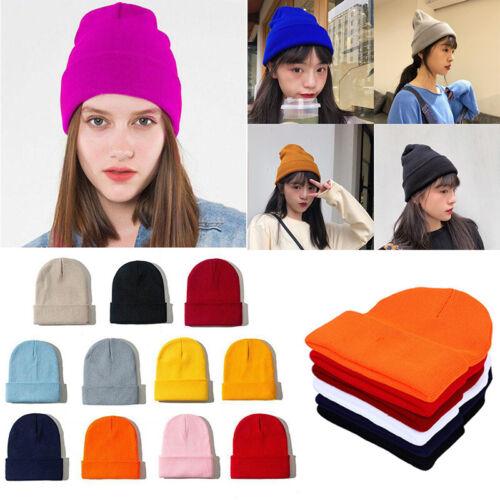 Plain Beanie Knit Hat Mens Women/'s Winter Warm Cap Slouchy Solid Skull Cuff Hat