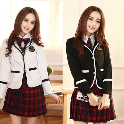 Korean or Japanese School Girl Suit Student Uniform w/Jacket Costume for Cosplay