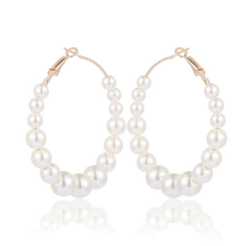 Fashion Women White Pearls Round Hoop Earrings Big Pearl Ear