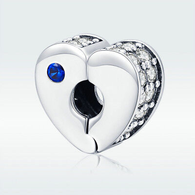 Best Wishes 925 Sterling Silver Heart Charm Clip Clasp Bead For Xmas