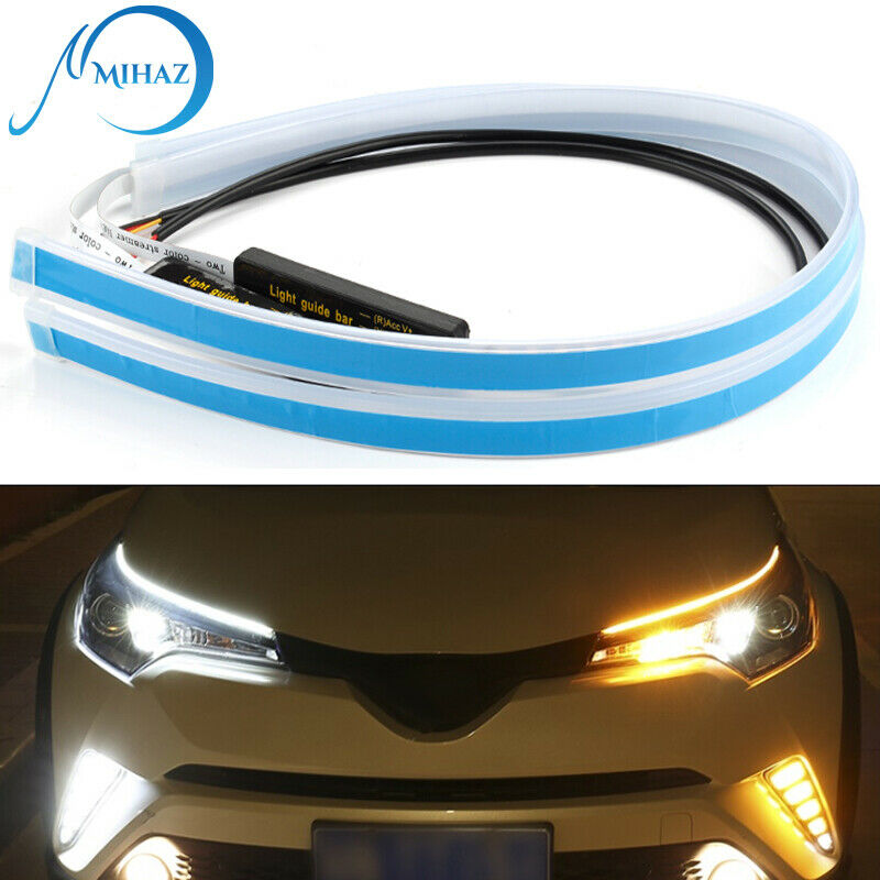 2pcs 60cm LED DRL Headlight Strip Lights Amber Sequential Turn Signal Flexible
