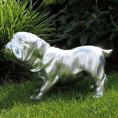 ENGLISCHE BULLDOGGE SILBER 45 cm Garten Deko Figur HUND Tier Skulptur Hunde