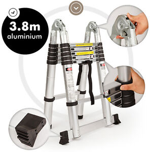 NEW BULLET 3.8m Multipurpose Telescopic Folding Ladder Aluminium Extension Steps