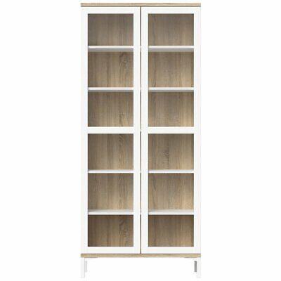 Tvilum Aberdeen 2 Door China Cabinet in White and Oak Structure (2 Door Cabinet China)