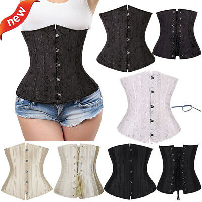 Black Lace Up Corset - Black 24 Spiral Steel  Boned Waist Training Underbust Lace Up Corset Top Shaper