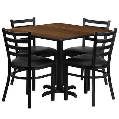 Restaurant Table Chairs 36 Walnut Laminate With 4 Ladder Back Meta Vinyl Seat