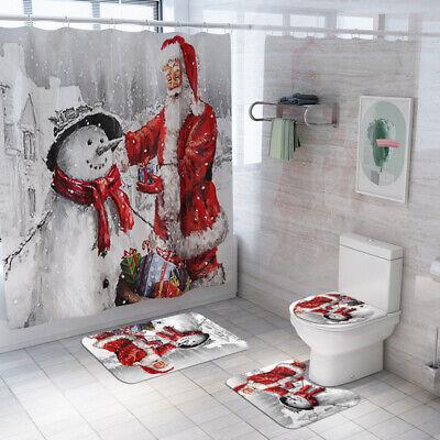 Christmas 4PCS Bathroom set Santa Waterproof Shower Curtain Toilet Cover Mat Rug ()