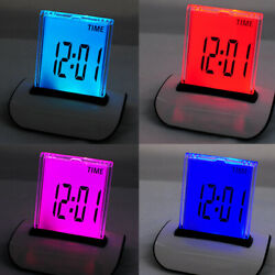 USA 7 LED Color Changing LCD Digital Clock Electronic Alarm Clocks For Kids Gift