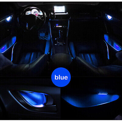 Blue Car Door Bowl Handle LED Ambient Atmosphere Light Interior Accessories