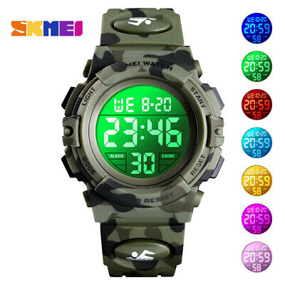 Kids Sports Digital Watch LED Camouflage Waterproof Watches Gift Child Boys Girl