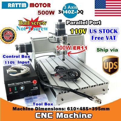 Us3 Axis 500w 3040z-dq Desktop Cnc Router Engraving Milling Machine Kit 110v