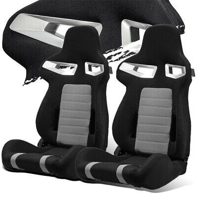- Black/Grey Pineapple Fabric Left/Right Recaro Style Racing Bucket Seats + Slider