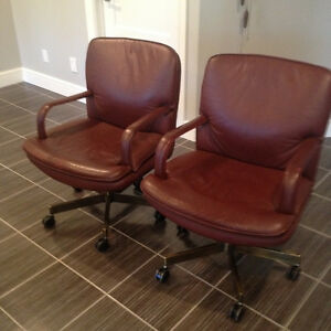 Leather Chairs with Brass bottoms
