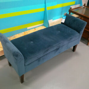 Blue Bed End Seat/Entryway Bench Thick Cushioned