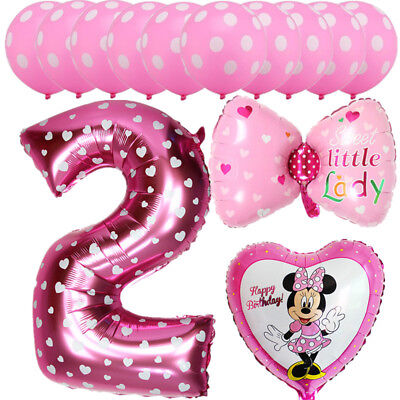 13 Birthday (13pcs Mickey Minnie Mouse Balloons 2nd Birthday Number Party Decor Supplies)