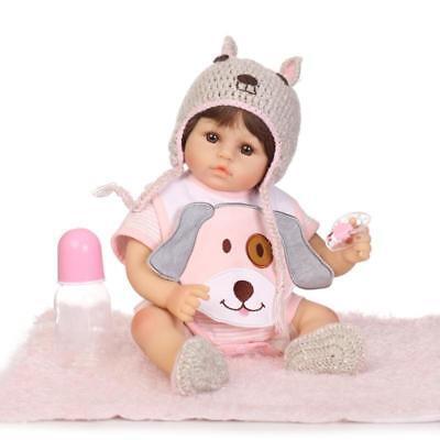 18'' NPK Lifelike Silicone Vinyl Reborn Doll Newborn Baby Girl Dolls+Dog Clothes for sale  Shipping to Canada