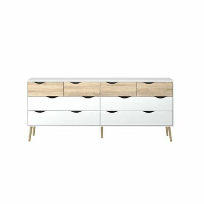 Tvilum 7545549AK Diana 8 Drawer Dresser White/Oak Structure