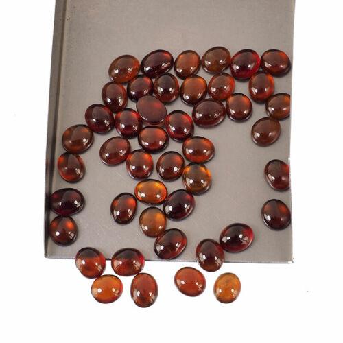45 Pcs Natural Hessonite Garnet 8mm-9.64mm Oval Loose Cabochon Gemstones Lot
