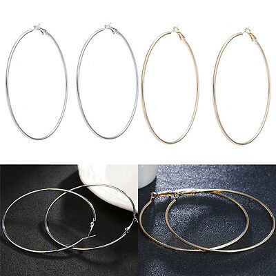 Sexy Oversized Gold Plated Big Circle Hoop Earrings Geometric ForWomen RS - $4.64