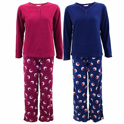 Womens Ladies 2 Piece Christmas Pyjama Set Robin V Neck Polka Dot Fleece Bottoms ()