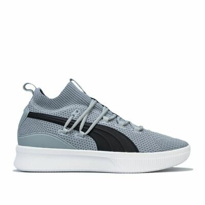 PUMA CLYDE COURT MENS GREY AND BLACK BASKETBALL TRAINERS