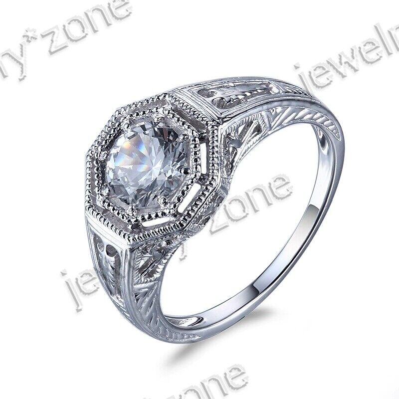 Solid 14K White Gold Antique Aquamarine Gemstone Jewelry Engagement Fine Ring