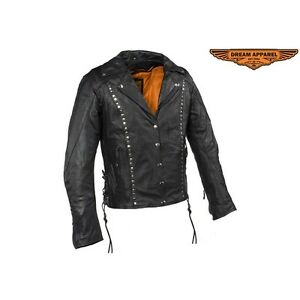 Womens Studded Leather Motorcycle Jacket With Concealed Carry Po