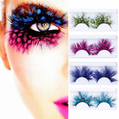 Extra Long False Eyelashes Fake Extensions Fancy Coloured Peacock Feather Design - Feather Fake Eyelashes
