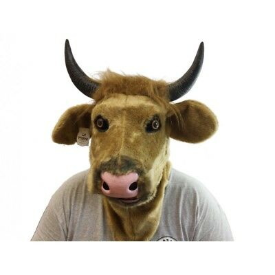 Bull Masks (ADULT COW BULL ANIMAL MOUTH MOVING FURRY COSTUME OVER THE HEAD MASK HORNS)