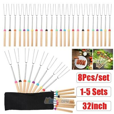 40x 32'' Telescoping BBQ Marshmallow Roasting Sticks Smores Skewers Hot Dog Fork ()