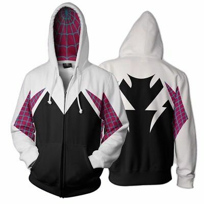 Spider Gwen Spiderman Cosplay Costume 3D Zipper Jacket Coat Hoodie Sweatshirt