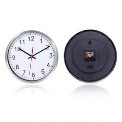 Large Silent Wall Clock 12'' Non-Ticking Indoor Decorative Clock Stainless Steel