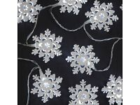 Battery Operated 10 White Iron Snowflake Lights With Ice White LEDs