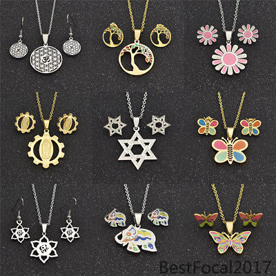 (Women Butterfly Ear Stud Earrings Necklace Stainless Steel Fashion Jewelry Sets)