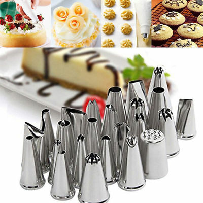 Sugarcraft 24Pcs Icing Piping Nozzles Tips Pastry Cake Cookie Cupcake Decor Tool