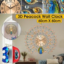 24 Luxury Peacock Wall Clock Large Metal Wall Watch Home Living Room Decor