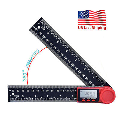 360 Lcd Electronic Digital Protractor Angle Finder Gauge Ruler With Batteries
