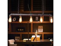 Industrial Steampunk Bar Light Iron Water Pipe Pendant Ceiling Lamp for Bulb
