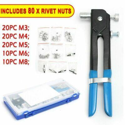 86pcs Threaded Nut Rivet Tool Riveter Rivnut Nutsert Riveting Kit M3-M8 Use